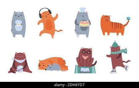 Kit icône plat chats mignon. Personnages félins moelleux assis, dormant, dansant, jouant, lisant, buvant une collection d'illustrations vectorielles isolées. Dôme