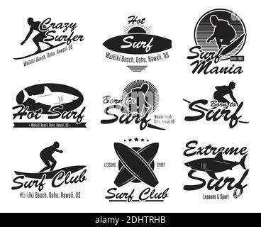 Différents jeux d'emblèmes de club de surf. Logo noir ou enseignes avec collection d'illustrations vectorielles de surf, surfeur, requin et vagues. Été, voyage, Hawai