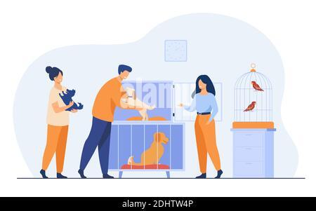 Concept de magasin pour animaux ou d'abri pour animaux. Homme prenant le chiot de la cage, achetant ou adoptant le chien. Bénévoles aidant à choisir l'animal sans abri pour adoption