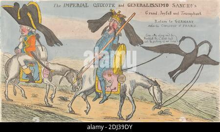 L'Impériale Quichotte et le Grand de Generalissimo Sancho, Joyfull et triomphant retour en Allemagne après la conquête de la France, (?) William Dent, active 1784–1793, 1792, décapage à l'aquarelle sur papier couché, feuille : 8 1/2 x 15 po. (21.6 x 38,1 cm