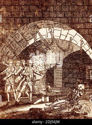 Squelette de l'homme dans le masque de fer trouvé dans Bastille prison Banque D'Images