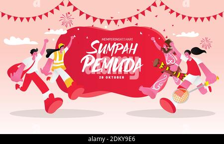 Illustration vectorielle. selamat hari Sumpah pemuda. Traduction : bonne promesse de jeunesse indonésienne. Convient aux cartes de vœux, affiches et bannières
