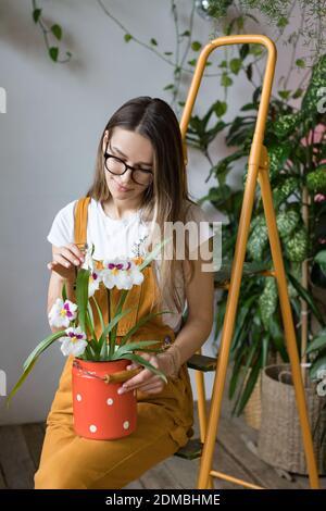Jeune femme souriante jardinier en lunettes portant une combinaison, prenant soin d'orchidée dans le lait rouge vieux peut se tenir sur l'échelle orange vintage. Jardinage à la maison, amour des plantes de maison, freelance.