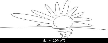 Dessin d'une ligne continue. Coucher du soleil sur la mer. Vector illustration.