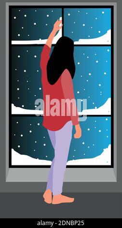 Restez à la maison en hiver. Personne rêvant debout devant la fenêtre et en train de neige à l'extérieur de l'illustration vectorielle.