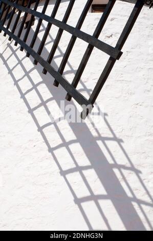 Détail de moulin arm et son ombre. Campo de Criptana, Ciudad Real province, Castilla La Mancha, Espagne.