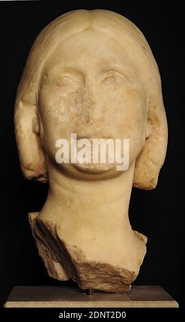 Portrait d'une femme romaine, marbre, ciselé, percé, lissé, marbre, Total: Hauteur: 38.8 cm; largeur: 21 cm; profondeur: 22 cm, sculptures, femme, mode coiffure, mode cheveux, période impériale tardive, Severan, antiquité romaine, remarquable dans ce portrait est la 'coiffure de casque', ainsi appelé en raison de la masse rigide des cheveux de cou, qui rappelle la protection de cou d'un casque.