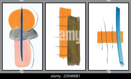 Ensemble de décorations murales abstraites minimalistes dessinées à la main. Brochure de couverture ou carte postale. Vecteur art EPS10.