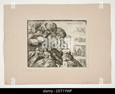 Echetcher: Orazio Borgianni, Italien, ca. 1578–1616, après : Raphaël, italien, 1483–1520, Moïse recevant les tablettes de la Loi, des tableaux de Loggia, Etching, un des 32 estampes, platemark: 14.3 × 17.8 cm (5 5/8 × 7 in.), fait en Italie, italien, 16ème–17ème siècle, oeuvres sur papier - estampes