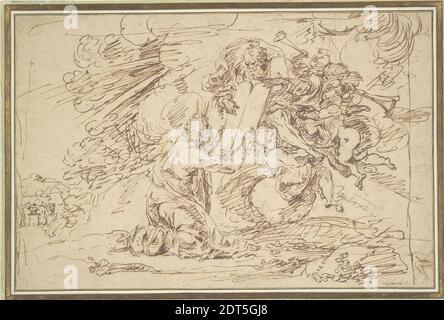 Artiste : Raymond Lafage, français, 1656–1684, Moïse recevant les tablettes de la Loi, vers 1680, encre de plume et brune sur craie noire, feuille : 23.5 × 35.8 cm (9 1/4 × 14 1/8 po), l'intensité émotionnelle de la rencontre de Moïse avec Dieu est ici véhiculée par la force apparemment explosive émanant de Dieu et des Tablets de la Loi. Les rayons émanant de la tête de Moïse se réfèrent au texte d'Exode 34:29 : la peau de son visage shone. En bas de la plaine, on voit les Israélites danser autour d'un veau d'or; quand Moïse descendit et les trouva engagés dans cette idolâtrie, il fracassa les tablettes. Raymond Lafage