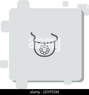 contour de bavoir bébé avec une icône de vecteur de fleur moderne simple illustration vectorielle