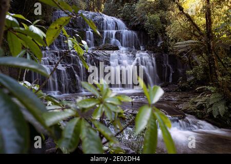 Les chutes de Purakuunui sont situées dans les Catlins, sur l'île du Sud, en Nouvelle-Zélande.