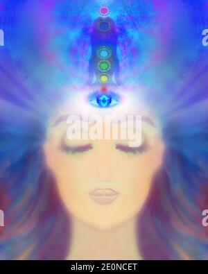 Femme avec le troisième œil, surnaturel sens psychiques Banque D'Images
