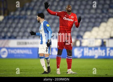 Lucas Joao, de Reading, a manqué une chance lors du match du championnat Sky Bet au stade John Smith, Huddersfield. Banque D'Images