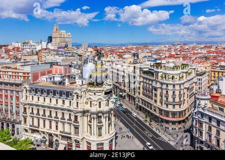 Madrid, Espagne. Vue aérienne de Gran via, rue commerçante principale de Madrid.
