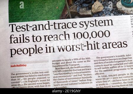 « le système de test et de suivi ne parvient pas à atteindre 100,000 personnes dans les zones les plus touchées » Dans le journal Guardian titre Covid-19 coronavirus article le 25 novembre 2020 ROYAUME-UNI