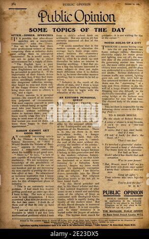 Page papier utilisée avec texte en anglais. Journal d'époque de 1923