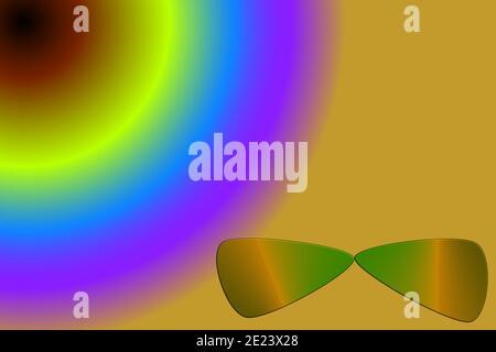 Spectre de couleurs d'une source radiale aux lunettes de soleil
