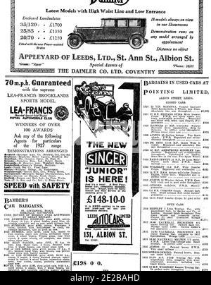Publicité automobile, voitures neuves et d'occasion annonces de journaux locaux, de 1927 Yorkshire Evening Post