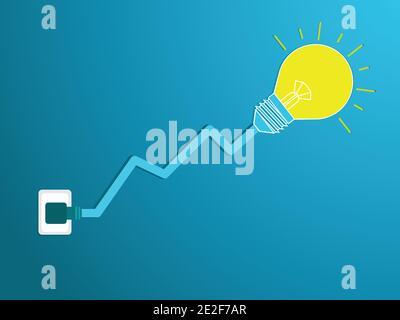 L'ampoule branchée dans la douille est allumée, le câble de l'ampoule se déplace vers le haut avec les lignes financières. Fond bleu vecteur d'icône d'ampoule.