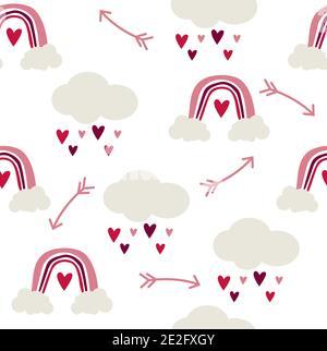 Motif sans couture d'arcs-en-ciel et de nuages avec coeurs de pluie, style scandinave puéril sur fond blanc.