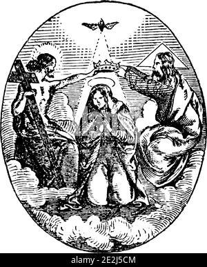 Dieu, Jésus-Christ et l'Esprit Saint sont couronnant la Vierge Marie comme reine dans le ciel.Antique vintage gravure religieuse biblique ou dessin.