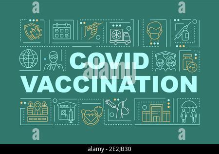 Bannière de concepts de mot de vaccination Covid