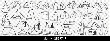 Divers tentes de camping ensemble de doodle. Collection de tentes de maison temporaire de camping dessinées à la main pour le tourisme de voyage isolées sur fond transparent. Illustration de tentes textiles pour rester sur la nature
