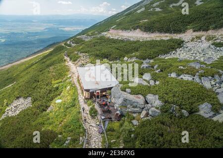 TATRANSKA LOMNICA, SLOVAQUIE - AOÛT 2020 : chalet alpin Skalnata chata dans les montagnes des Hautes Tatras