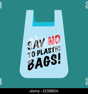 Dire non au texte des sacs en plastique sur le sac. Concept zéro déchet. Illustration vectorielle