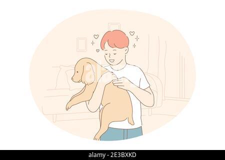 Adoption chiens de l'abri, le bénévolat, aider les animaux de compagnie concept. Jeune heureux garçon personnage de dessin animé tenant et pétant brun adopté chiot, embrassant et