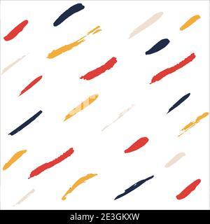Arrière-plan blanc abstrait avec pinceau à encre rouge, bleu, jaune et beige. Illustration vectorielle. Modèle d'articles et de publications sur les réseaux sociaux. Banque D'Images