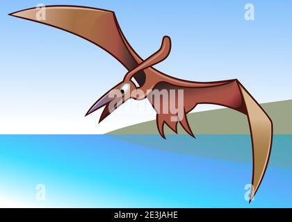 Illustration de style caricature pour enfants - Pteranodon