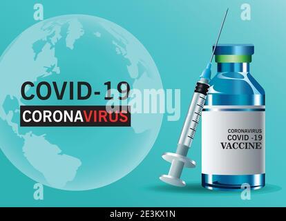 covid19 lettrage du vaccin contre le virus avec flacon et vecteur d'injection conception de l'illustration