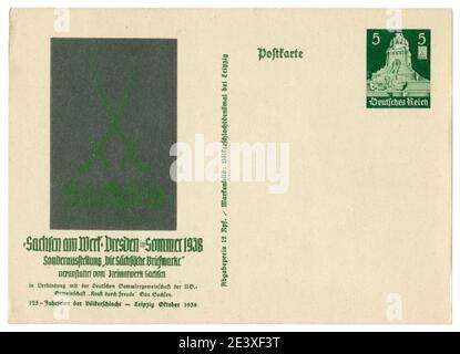 Carte postale historique allemande: Exposition à Dresde ' Labor Saxe' 1938, Allemagne, troisième Reich