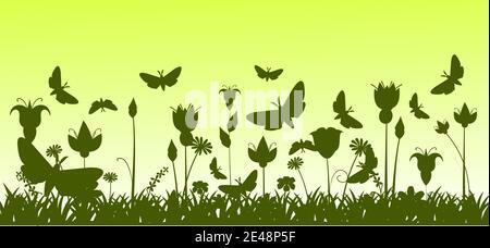 Silhouette d'une prairie en fleurs avec herbe, fleurs et papillons. Paysage vert. Illustration de dessin animé. L'arrière-plan de l'image. Magnifique naturel