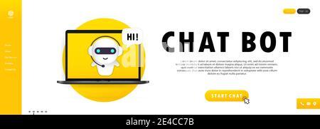 Chatbot dans l'illustration de l'ordinateur portable. Modèle de page de renvoi bot de l'assistant en ligne. Banque D'Images