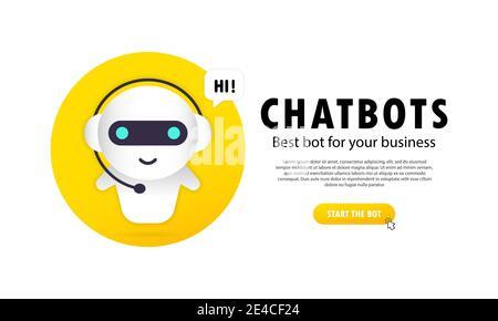 Bannière Chatbot. Prend en charge les technologies automatisées. Plate-forme de développement Chatbot, assistant virtuel chatbot via messagerie Banque D'Images