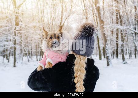 Femme méconnue avec un chien qui marche dans le parc d'hiver