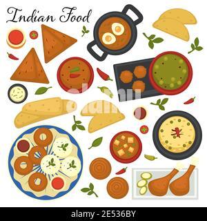 Menu de cuisine indienne, sélection de plats indiens. Soupes et tandoori, épicé vecteur de collations dans plat