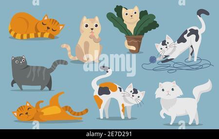 Ensemble d'articles plats chats mignons et amusants. Dessins animés chatons molletonnés, chatons et tabbies assis, jouant, mentir et dormir isolés illustration de vecteur recueillir