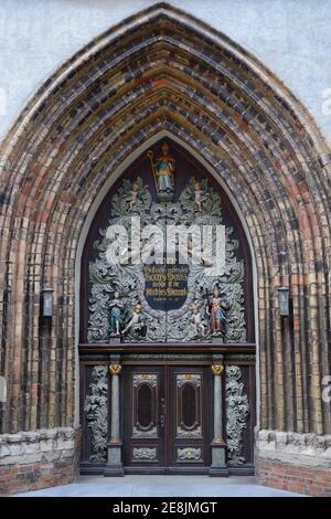 Portail ouest de la Nikolaikirche, Stralsund, Mecklembourg-Poméranie occidentale, Allemagne
