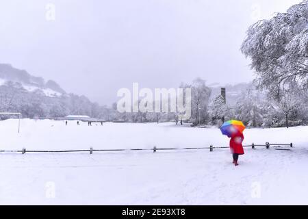 Femme en manteau rouge et parapluie coloré marchant dans la neige, Calder Holmes Park, Hebden Bridge, Calvale, West Yorkshire