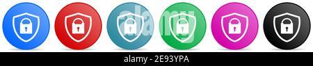Shield avec icônes de vecteur de cadenas, ensemble de boutons de gradient de cercle dans 6 options de couleurs pour les applications Web et mobiles