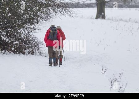 Deux hommes marchant dans des champs enneigés.