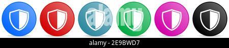 Shield, protection, icônes de vecteur de concept de sécurité, ensemble de boutons de gradient de cercle dans 6 options de couleurs pour les applications Web et mobiles