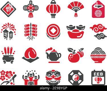 jeu d'icônes, vecteur et illustration de la nouvelle année chinoise heureuse