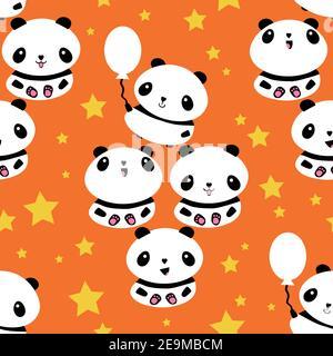 Kawaii vector panda fond de motif sans couture. Jolis ours en dessin animé noir et blanc avec ballons et étoiles sur fond orange