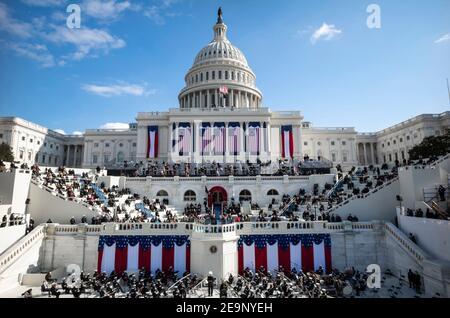 Le président américain Joe Biden prononce son discours inaugural lors de la 59e cérémonie d'inauguration présidentielle au Capitole des États-Unis le 20 janvier 2021 à Washington, DC.