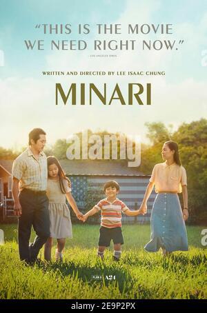 Minari (2020) dirigée par Lee Isaac Chung et avec Steven Yeun, Yeri Han et Alan S. Kim. Une famille coréenne commence une ferme dans les années 1980 Arkansas.